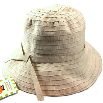 Jeanne Simmons Twill Travel Bucket Hat for Women - UPF 50+ UV Sun Protection (Sand)