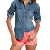 Roll-Cuff Denim Button-Down Top: Charlotte Russe