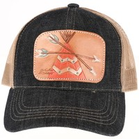 Ladies Tooled Leather Painted Arrow Cap
