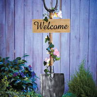 Solar Light Shovel Welcome Stake Floral Yard Outdoor Lighting Lawn Garden Decor