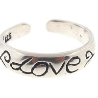 Sterling Silver Toe Ring (925) Love Script, One Size Fits All