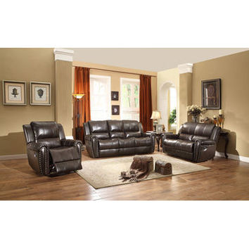 Homelegance Bosworth Three Piece Sofa Set In Dark Brown Genuine Top Grain Leather Match