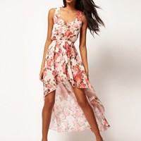 Love Chiffon Vintage Rose Wrap Hi Lo Dress at asos.com