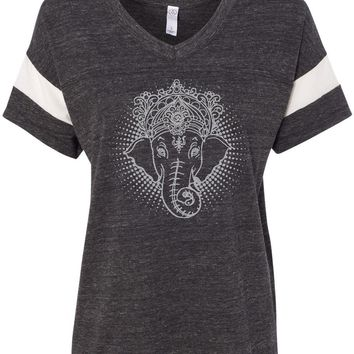 Womens Yoga T-shirt Iconic Ganesha Eco-Friendly V-neck