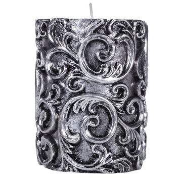 """Antique Silver Embossed Swirl Pillar Candle - 3"""" x 4""""   Hobby Lobby   199026"""