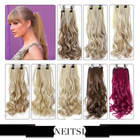 """Neitsi 1PC 22"""" Synthetic Curly Hair Ponytails Hairpieces Wavy Clip In On Pony Tail Hair Extensions 18 Pure Colors Free Shipping"""