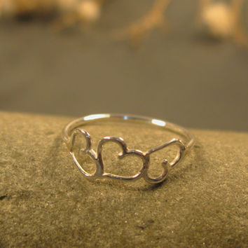 Three dancing hearts ring sterling silver by DvoraSchleffer