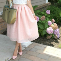 Pink  Pleated Flare Skirts B0014925
