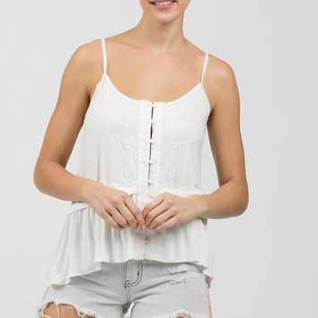 Button Down Baby Doll Cami Top