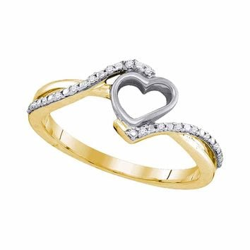 10kt Yellow Gold Womens Round Diamond Simple Heart Ring 1/12 Cttw