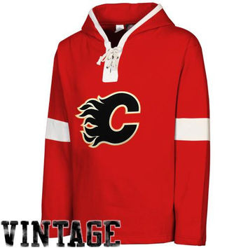 Old Time Hockey Calgary Flames Grant Lace Pullover Fleece Hoodie - Red