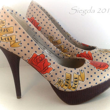 Rose-10th Doctor-Bad Wolf-Doctor Who-Women's heels-Cosplay-Party Pumps-Whovian-Gift For Her-Custom Shoes-Fangirl-Fan Art