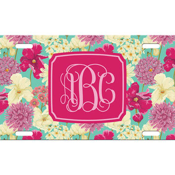 Custom Personalized License Plate Car Tag Beachy Hawaiian Floral Flower Vine Monogram Birthday Girls Gift Aluminum Front Car Plate LP-1007