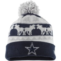 Mens Dallas Cowboys New Era Navy Blue Mooser Knit Hat with Pom