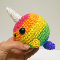 Bright Rainbow Striped Big Narwhal - Made to Order - Crocheted Plushie
