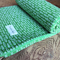 Green feathers cotton soft baby blanket