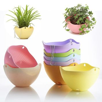 Flexible Chain Plastic Planter Basket Garden Home Decoration Hanging Planter Flower Pot ZH916