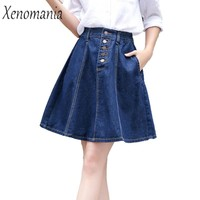 Skater Skirt Denim Skirts Saia Jeans 2017 Saias Midi Pleated Skirt High Waist Skirts Plus Size Lolita Faldas Jupe Femme Falda