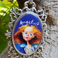 Guardian Angel Pendant Necklace - Angel Girl Blue