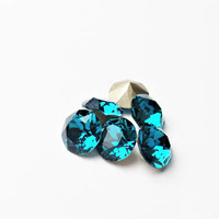 Six Indicolite 8mm 1088 Foiled Swarovski Xirius Pointed Back Chaton Crystal DKSJewelrydesigns