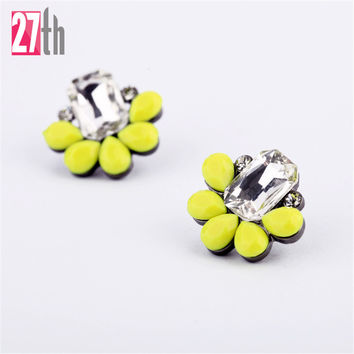 Elegant Crystal Earrings Opal Stone Stud Earrings Colorful Trendy Gold Plated Piercing Earrings for Women 2016 Christmas Gift