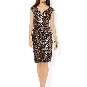 Lauren Ralph Lauren Sequined Floral Dress
