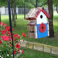 Wine cork birdhouse  - Rustic bird house, Patriotic colors, housewarming gift, happy hour for the birds