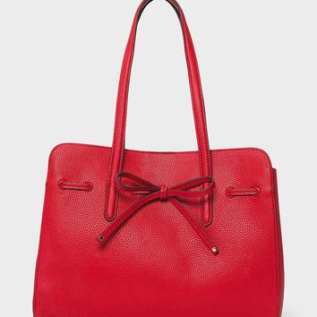 Faux Leather Satchel with Bow | dressbarn