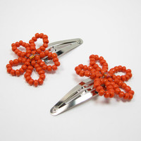Orange Flower Hair Barrettes, Beaded Barrettes, Hair Clips