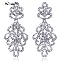 Luxury Crystal Bridal Long Earrings Plant Silver/Gold Color Wedding Party Drop Earrings Jewelry