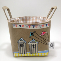 Flying a kite near the Beach Huts, Fabric Storage Basket, bright & summery, perfect for sunny days