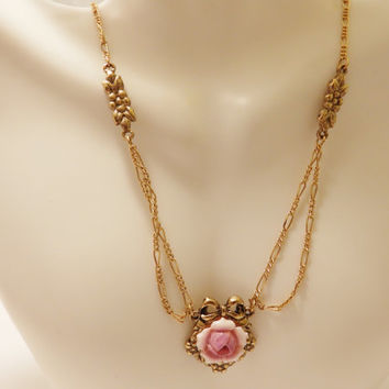 Vintage Avon Pink Rose Victorian Style Necklace