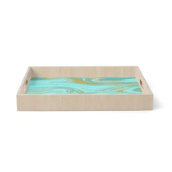 """Cafelab """"Light Water And Gold"""" Teal Gold Abstract Celestial Mixed Media Painting Birchwood Tray"""