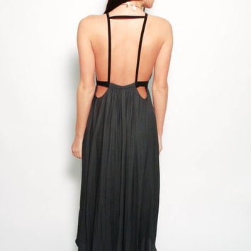 Free People Backless Maxi - Charcoal