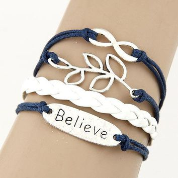 Multi 5 Layer Infinity, Leaf, Believe Charms Wrap Bracelet Navy Blue/White Faux Leather/Suede