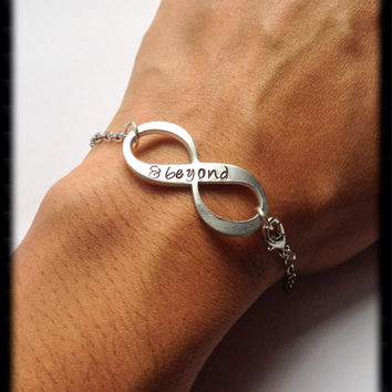 Handstamped infinity bracelet. Handstamped infinity necklace. Infinity and beyond. Anniversary gift. Infinity bracelet. Infinity necklace.