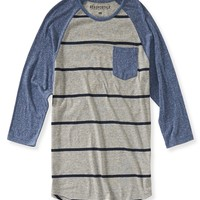 Aeropostale Mens 3/4 Sleeve Striped Baseball T-Shirt - Navy,
