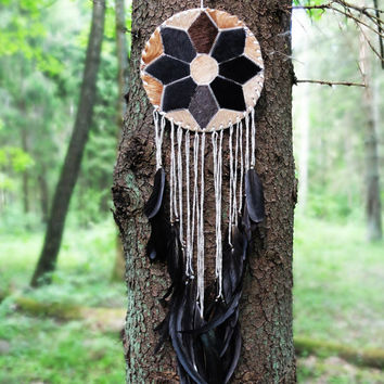 Dreamcatcher,  Boho Dream Catcher, Large Dream Catcher, Wall Hanging, Boho Home Decor, Feather With Tribal Natural Talisman Natural fur