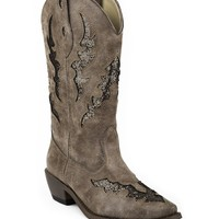 Women's Glitter Underlays Snip Toe Boot - Brown