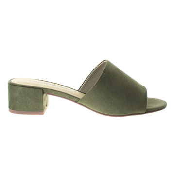 Watson Lt Olive By City Classified, Low Block Heel Slippers. Women's Slide In Open Toe Sandal