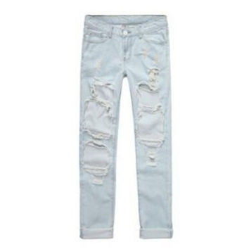 Fashion women loose-fitting denim ripped hole jeans pants = 1930307140