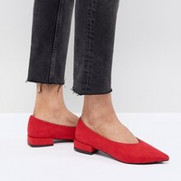 Lost Ink Red High Vamp Flat Shoes at asos.com