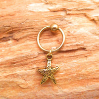 StarFish Gold Cartilage Hoop Captive Bead Ring Body Jewelry
