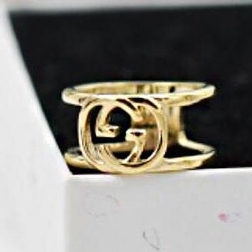 GUCCI New Fashion Women Double G Letter Titanium Steel Ring Golden I13076-1