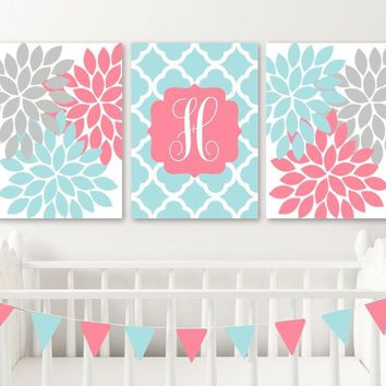 Coral Aqua Nursery Wall Art, Baby Girl Decor, Coral Aqua Monogram Flowers Decor, Girl Monogram Above Crib Decor, Set of 3, Canvas or Print