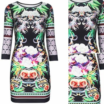 Black Baroque Rose Print Mini Dress