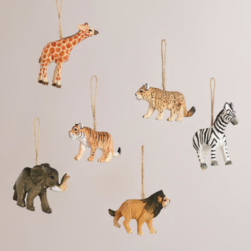 Wood Safari Animal Ornaments, Set of 6 - World Market