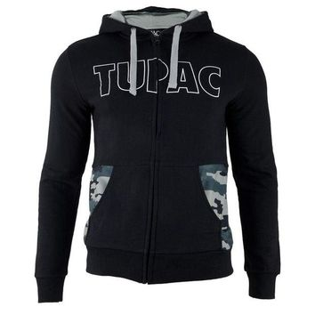 DCCKIS3 Tupac - Block Letters Camo Adult Zip-Up Hoodie