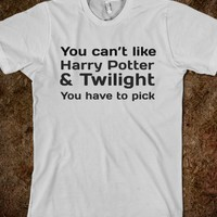YOU CAN'T LIKE HARRY POTTER AND TWILIGHT. YOU HAVE TO PICK.