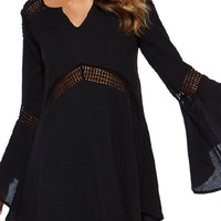Black Crochet Trumpet Sleeve Dress